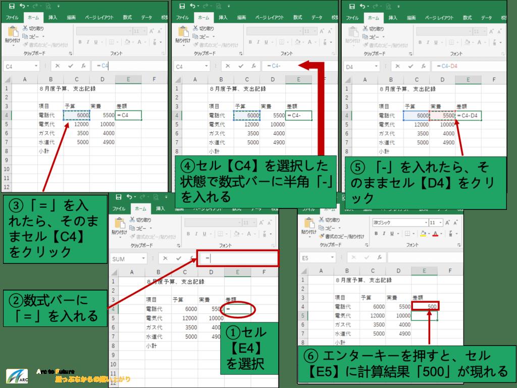 Excelのセルに簡単な数式を入れて計算(合計)