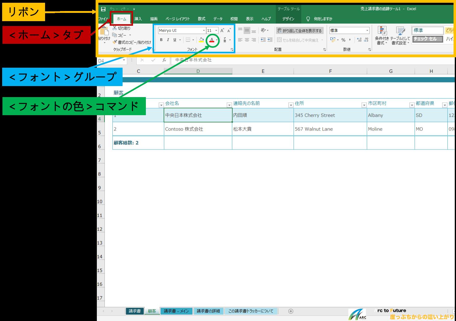 Excelのリボン、タブ、グループ、コマンドの説明