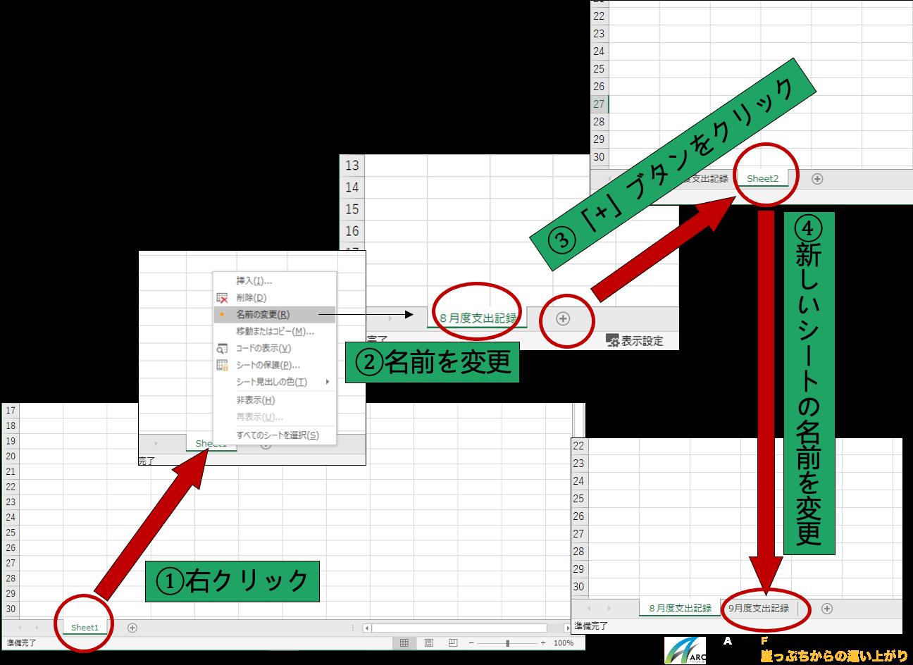Excelの新しいワークシートを作成し、シート名を変更する