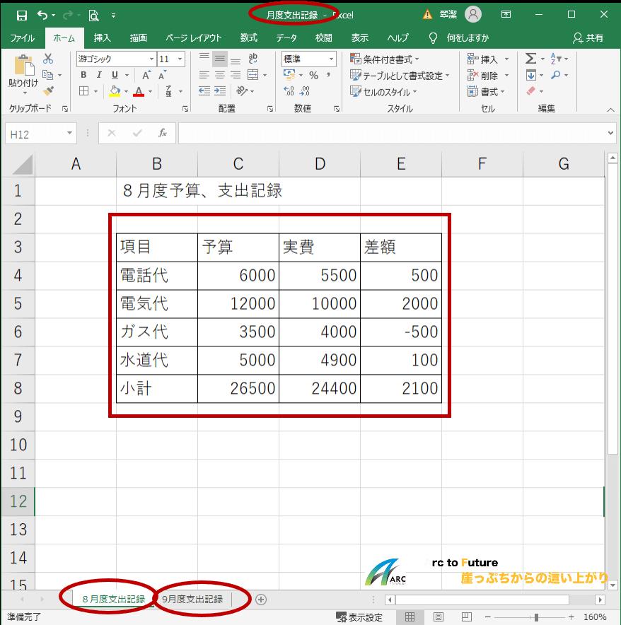Excel初心者シリーズの本記事における完成図