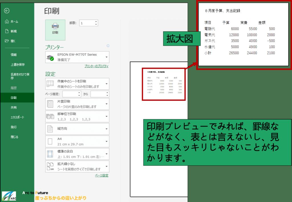 Excelの印刷プレビュー