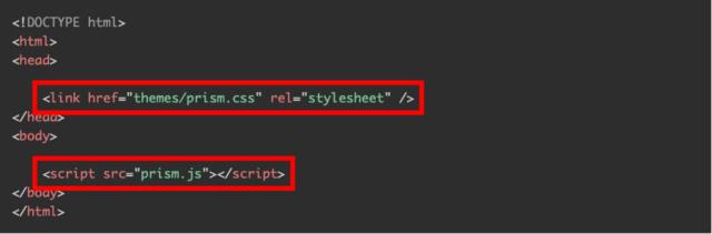 HTMLファイルにprism.cssとprism.jsファイルを読み込コードを追加(公式サイトより)