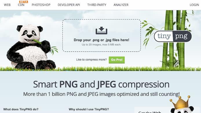 TinyPNGの初期画面